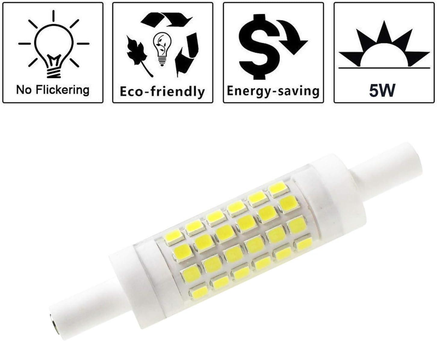 Mechok Dimmable R7S LED Bulb 78mm 2-Pack 5W 120V T3 Double Ended J Type J78 LED Flood Light Daylight 6000K Work Light Security Light 35W Halogen Replacement Bulb for Floor Lamp
