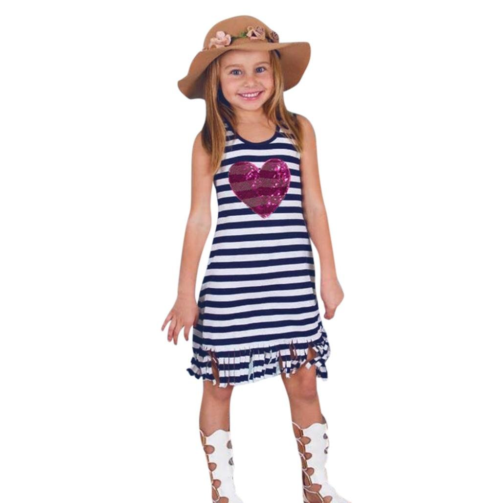 ChainSee Gril's Dress Kids Summer Sequins Sleeveless Striped Tassel Sun Dress Fashion