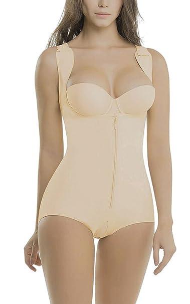 5b9de901ba6 minifaceminigirl Women s Shapewear Seamless Bodysuit Firm Control Body  Shaper Open Bust Tummy Control Body Slimmer (