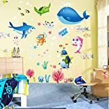 Amaonm Removable Creative Decorative The World Under The Sea Natural Scenery Seaweed Grass Fish Coral Nursery Peel and Sticker Wall Sticker Decals Wall art Decor for Girls Bedroom Bathroom Living Room
