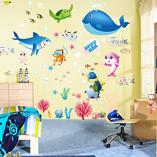 Amaonm Removable Creative Decorative The World Under The Sea Natural Scenery Seaweed Grass Fish Coral Nursery Peel and Sticker Wall Sticker Decals Wall art Decor for Girls Bedroom Bathroom Living Room by Amaonm