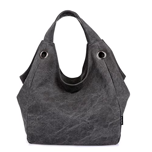 343c4b94ef2 TianHengYi Women's Big Capacity Canvas Double Top Handle Tote Handbag  Vintage Hobo Shoulder Bag Shopper Black: Amazon.ca: Shoes & Handbags