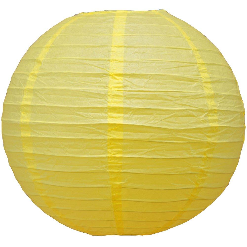 球体ペーパーランタン うね織り模様 ぶらさげるのに(電球は別売り) 24 Inch 24EVP-LY 1 B00A03SN5G 24 Inch|Lemon Yellow Chiffon Lemon Yellow Chiffon 24 Inch