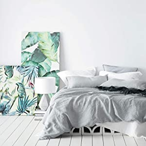 Washed Cotton Chambray Duvet Cover Solid Color Casual Modern Style Bedding Set Relaxed Soft Feel Natural Wrinkled Look (King, Cloudy Sky)