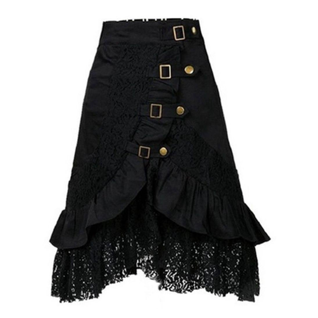 Women's Steampunk Skirt Party Club Wear Punk Gothic Retro Lace Dress Long Skirt