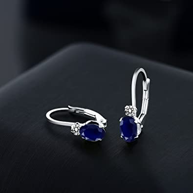 Details about  /Womens 3 Ct Multi Shape Blue Sapphire Leverback Earring 14k White Gold FN Silver