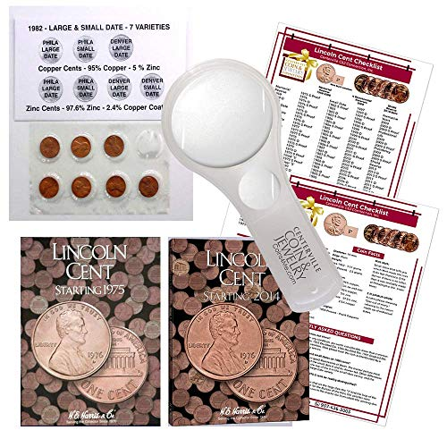 (Lincoln Penny Starter Collection Kit, with 1982 Varieties, H.E. Harris [2674] Lincoln Cent Folder Vol. 3, [4002] Folder Vol. 4, Magnifier & Checklist, (5 Items) Great Start for Beginner Collectors )