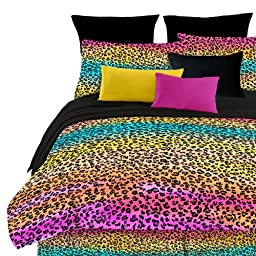 Veratex Street Revival 100% Polyester 4-Piece Kids Rainbow Leopard Comforter Set, Full Size, Multi Color