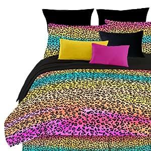Street 4-Piece Revival Rainbow Leopard Full Comforter Set, Multi