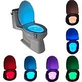 Motion Sensor LED Toilet Night Light, Komire Light Detection Motion Activated Toilet Light with 8-Color Changing, Battery Ope