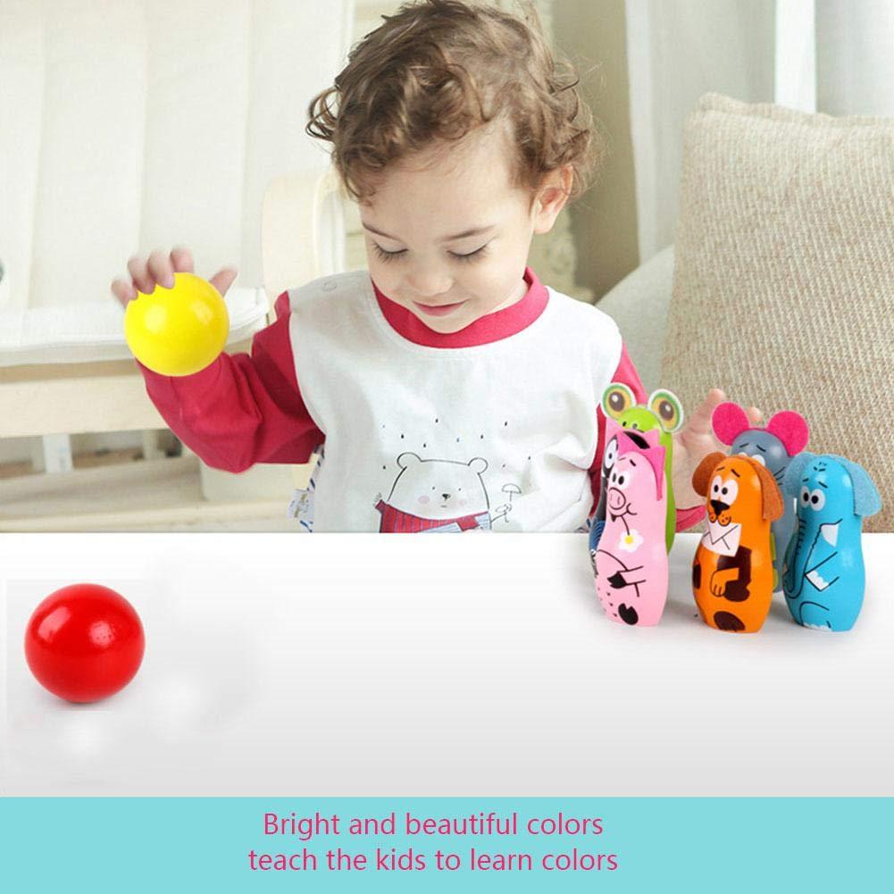 Holz Bunte Kinder Bowling Set Mini Kegel Aktivit/ät Spiel Spielzeug Spiel Kinder mit 6 Pins /& 2 Kugeln