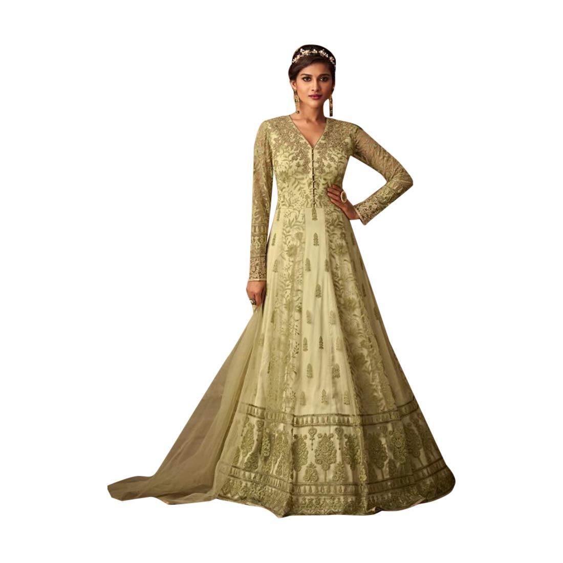 Evening wear Designer Semistitched Net Anarkali Suit Heavy Embroidery Indian Ethnic Women Bespoke 7784