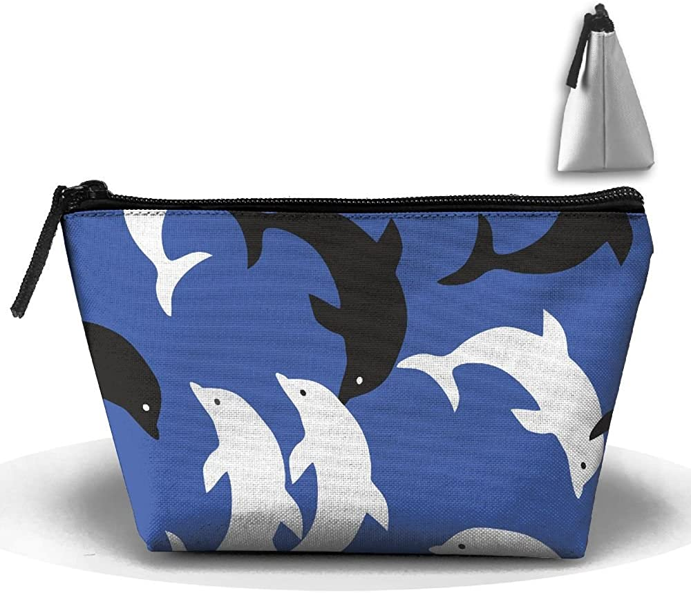 Dolpins Blue White Multifunction Portable Pouch Trapezoidal Storage Travel Bag