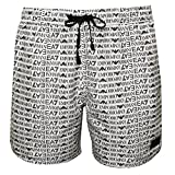 Emporio Armani Men's EA7 All Over Logo Print Swim Shorts, White, Medium