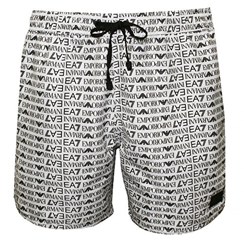 Emporio Armani Men's EA7 All Over Logo Print Swim Shorts, White, Small by Emporio Armani