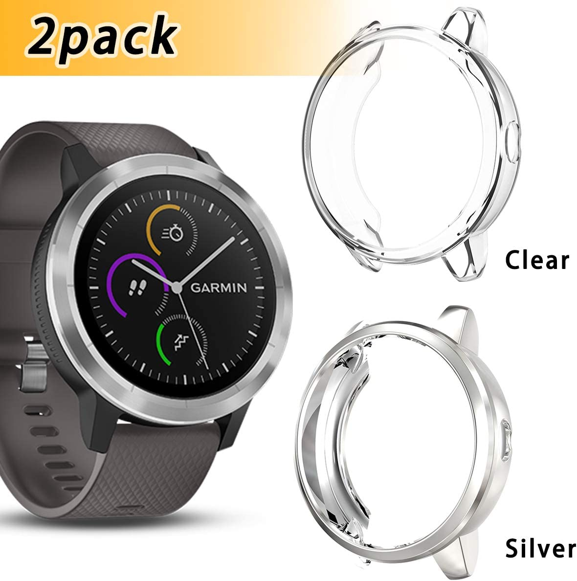 Anzela 2 Pack Funda para Garmin Vivoactive 3 Entrenador Smartwatch ...