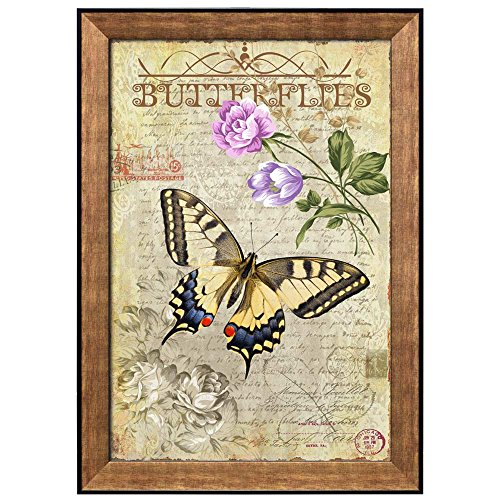 Collage of a Yellow Butterfly Flying Towards Purple Flowers Over a Paper with Handwriting Framed Art