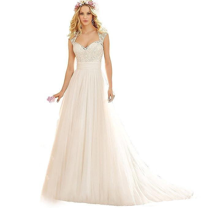 VIPbridal Sencillo Largo Vestidos de boda de playa con Tulle A-line vestidos de novia