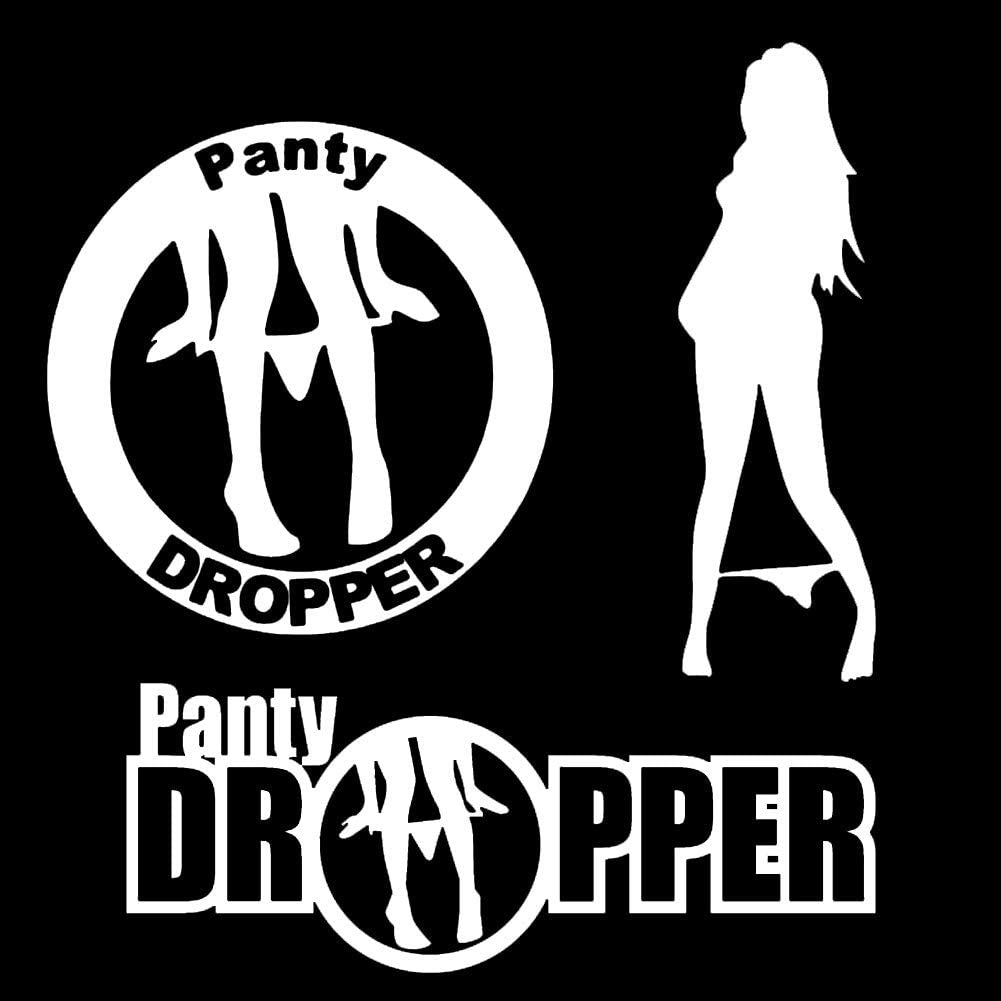 """Leasinder 3pcs 7"""" Panty Dropper Stickers Sexy Funny Decal Reflective Vinyl Stickers for Car Bumper Window Laptop (White)"""