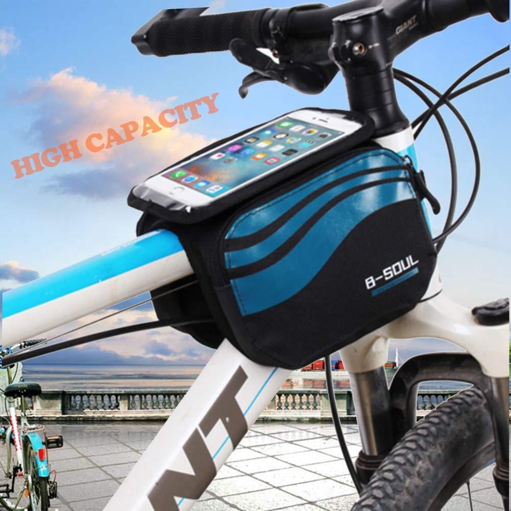 Alomejor Fahrrad Rahmen Tasche Rahmen Handytasche Fahrrad Frontrohr Tube Touchscreen Doppeltasche Satteltasche f/ür Mountain Road Fahrrad