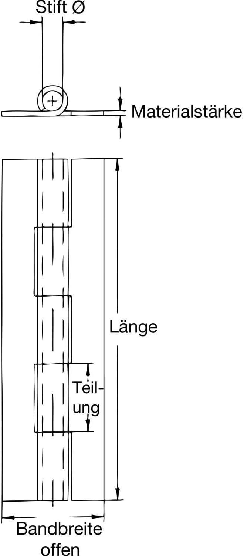 1/pieza secotec Barra Bisagra 20/x 1200/mm Acero Lat/ón Mate SB de 1 /07/X 20/X 1200.20/m de G de SBS 0132/