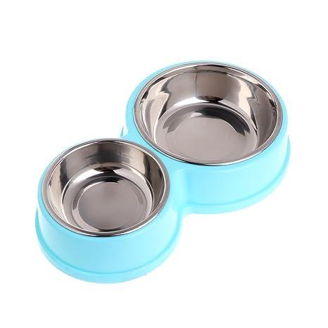 Jiamins - Comedero Doble de Acero Inoxidable para Perros y Mascotas, alimentador de Agua para Gatos y Cachorros