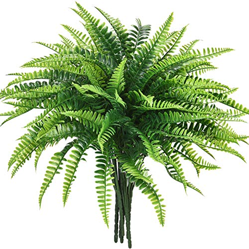 Dolicer 6 Pcs Artificial Boston Fern Plants, Boston Fern Bush Plant Shrubs Artificial Boston Fern Bush Plant Arrangement Greenery Bushes Artificial Shrubs for Wedding Garden Office Verandah Home Decor