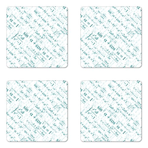 Lunarable Mathematics Classroom Coaster Set of Four, Various Complex Math Formulas Operations Science Education Research, Square Hardboard Gloss Coasters for Drinks, Teal White
