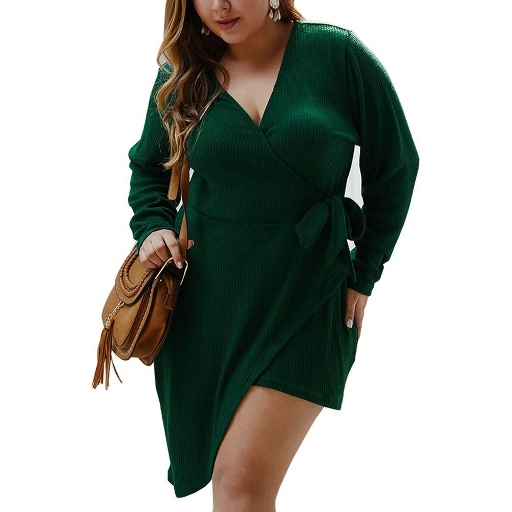 Women's Plus Size Knit Sweater Wrap Dress,Long Sleeve Deep V Neck Side Bow Tie Layered High Low Dresses XL-4XL Green by KINGLEN Womens Dress