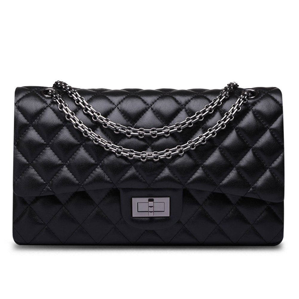 Ainifeel Women's Quilted Leather Shoulder Handbag Hobo Bag Purse (Medium, Black)