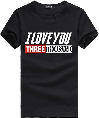riou Camiseta para Hombre, Verano Moda Originales Estampada I Love You Three Thousand 3000 Fans Shirt Casual T-Shirt Blusas Camisas Simple Suave ...