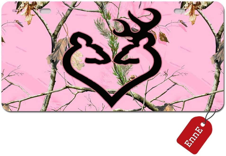 Anwei Personalized License Plate Cover Pink Camo Realtree Trees for Car 2 Holes Car Tag 11.8 inch X 6.1 inch