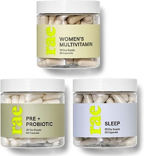 Rae Wellness Starter Set - Multivitamin for Women, Pre + Probiotic Supplement for Gut Health, Sleep Supplement for Relaxation - Vegan, Non GMO and Gluten Free (3 Pack)