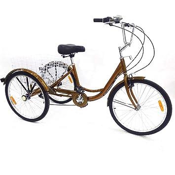SENDERPICK 24 Pulgadas 6 velocidades Adulto 3 Ruedas Triciclo, Adulto Bicicleta Pedal de Ciclismo con Cesta Blanca para Deportes al Aire Libre Compras ...
