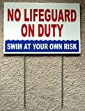 1Pc Convincing Unique No Lifeguard On Duty Sign Swim Board Warning Message Outdoor Declare Keep Water Allowed Pools Rules Decor Pool Swimming Diving Danger Signs Peeing Pond Post Size 8''x12'' w/ Stake