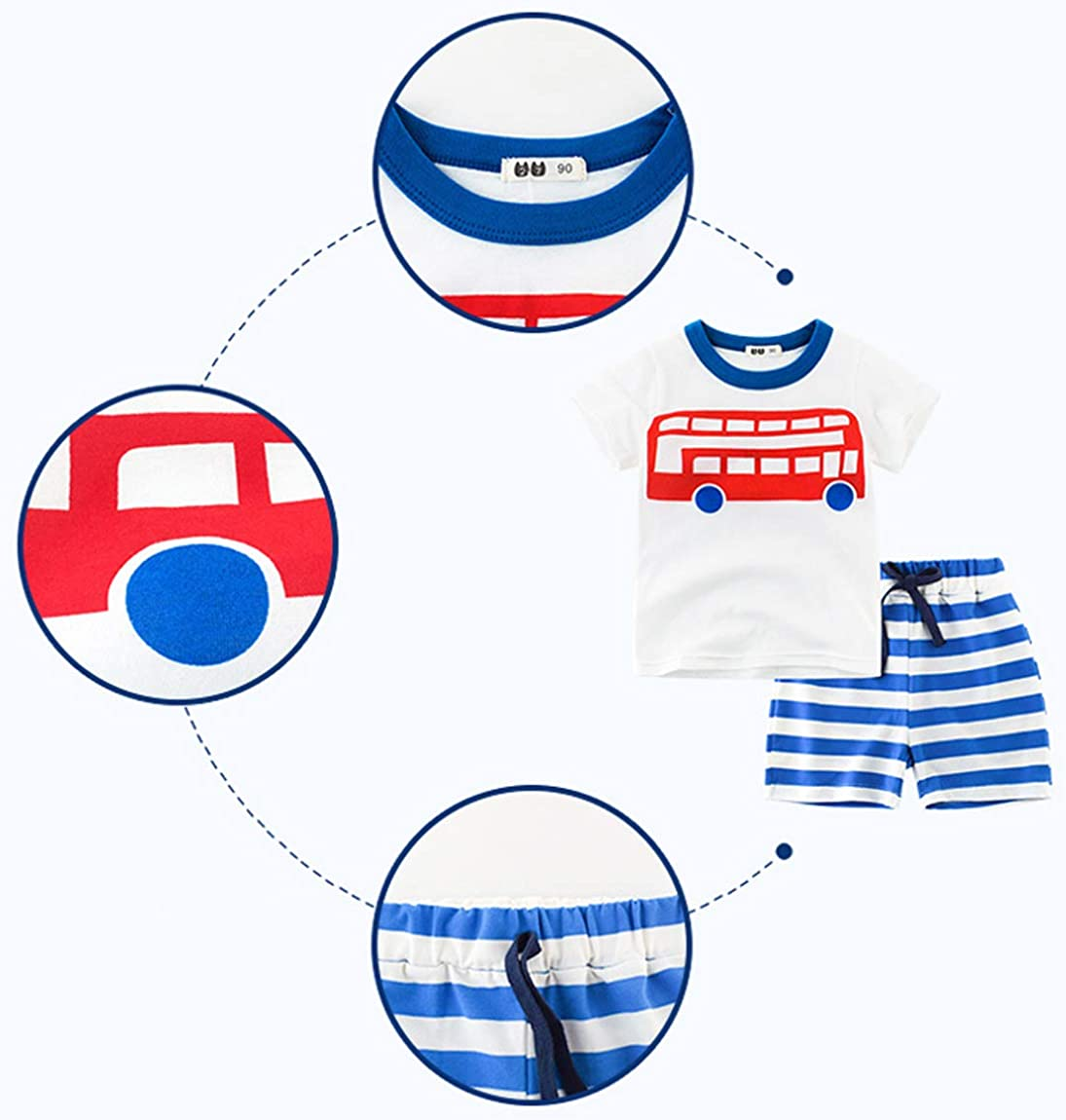 Toddler Boy Summer Short Sets Short Sleeve Cartoon Tee Shirt Striped Drawstring Shorts Trousers 2 Piece Outfit