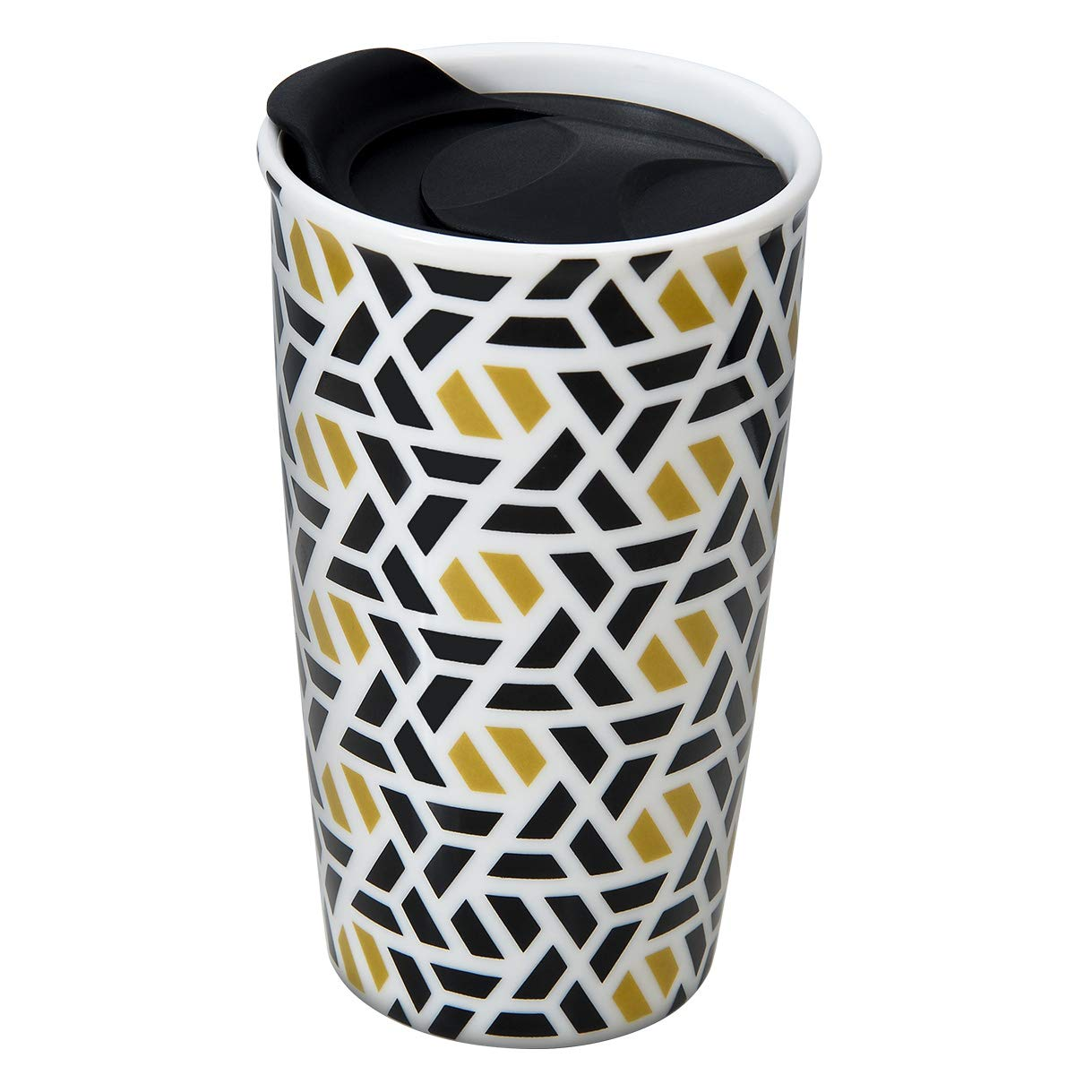 Ceramic Travel Mug - Double Wall Insulated Tumbler with Wrap Lid 12 oz Coffee Travel Mug Suitable for Both Hot and Cold Beverage Coffee Tumbler DishwasherSafe