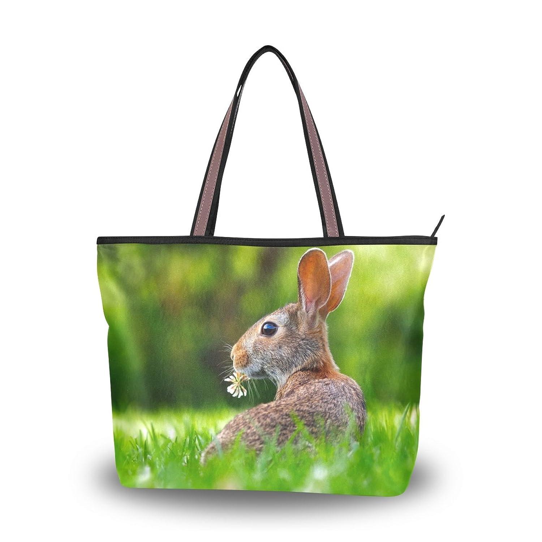 Leezone Western Style Microfiber Shoulder Handbags with Rabbit Printing