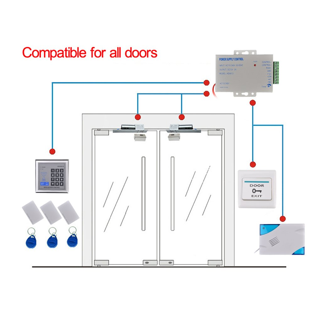 Kit Rfid Electro Magnetic Door Lock Access Remote Control Videx Smart 1 Wiring Diagram System Full Set Diy Tools