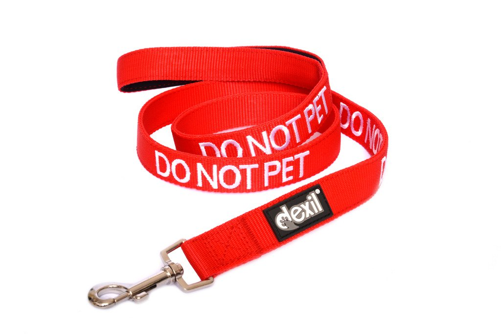 Dexil Limited DO NOT PET Red Color Coded 2 4 6 Foot Padded Dog Leash PREVENTS Accidents By Warning Others of Your Dog in Advance (4ft)
