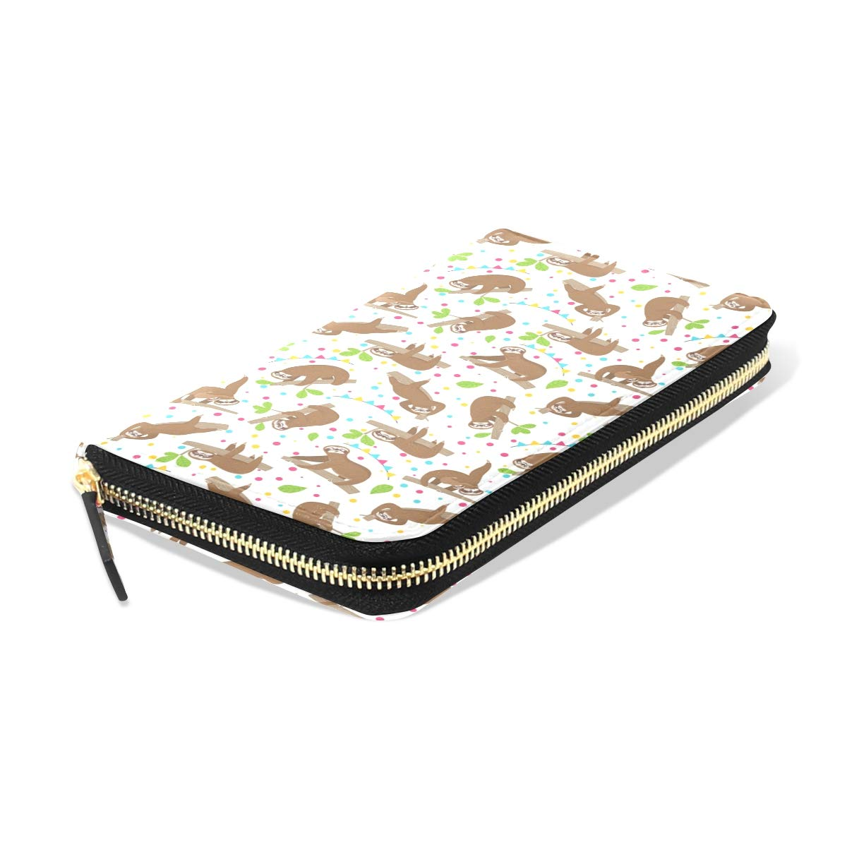 Women Relaxing Sloths On Jungle Leather Wallet Large Capacity Zipper Travel Wristlet Bags Clutch Cellphone Bag