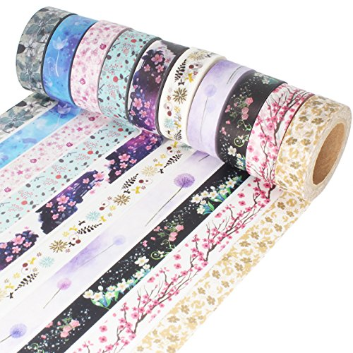 Washi Tape 33 Feet Long DIY Japanese Masking Tape Decorative Masking Tape Scrapbooking Tape for Arts Crafts Office Party Supplies and Gift Wrapping