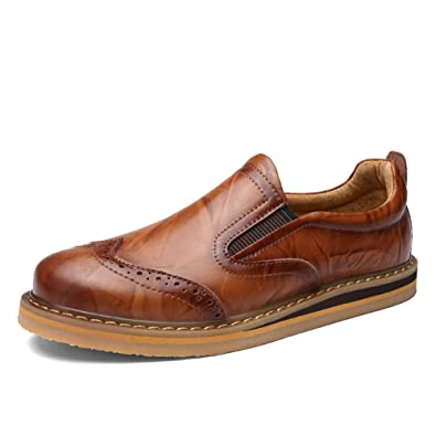 Shenn Hombre Británico Diseño Ponerse Bajo Top Vestir Cuero Zapatos (Negro,EU38)
