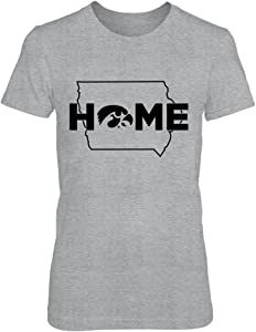 FanPrint Iowa Hawkeyes T-Shirt - Home with State Outline - Gold Shirt