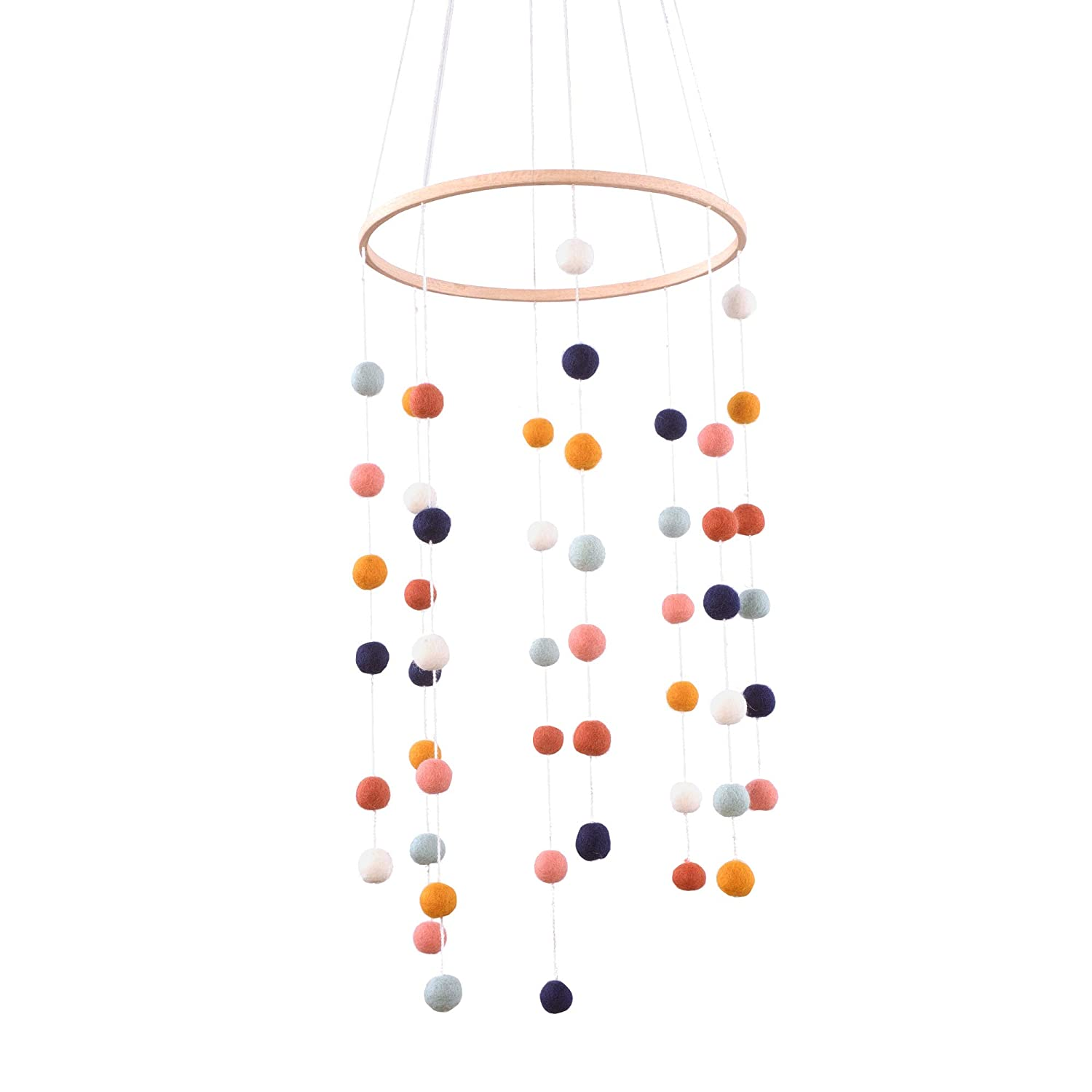Glaciart One Felt Balls Baby Mobile - Colored Felt Hanging Decor & Toy Soother for Nursery, Crib, Bedroom - 100% Natural New Zealand Wool, Cotton Strings, Handmade in Nepal - Shower Gifts for Infants