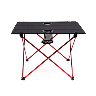 "Outry Lightweight Folding Table with Cup Holders, Portable Camp Table (M - Unfolded: 22"" x 17"" x 15"") : Sports & Outdoors"