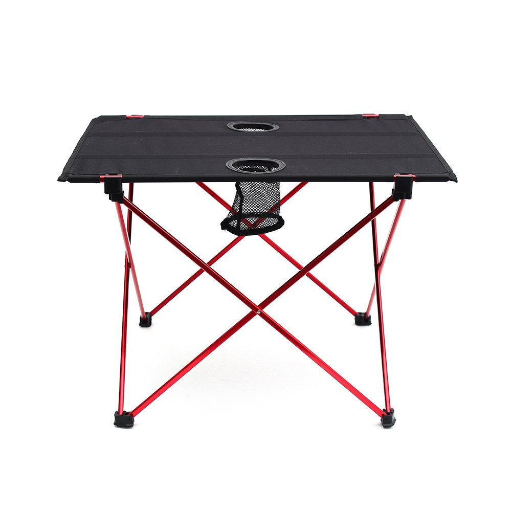 Outry Lightweight Folding Table with Cup Holders, Portable Camp Table (M - Unfolded: 22'' x 17'' x 15'') by Outry