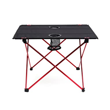 Outry Lightweight Folding Table Cup Holders, Portable Camp Table