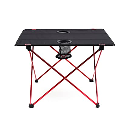 OUTRY ligero mesa plegable con portavasos, Mesa de Camping Portátil (M-desplegada: