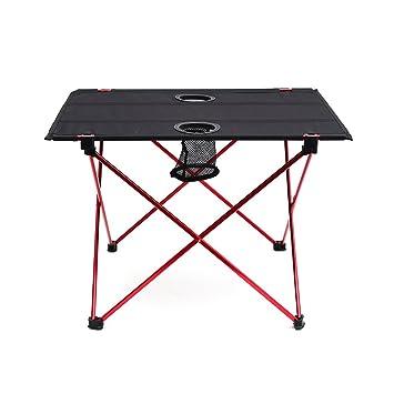 OUTRY ligero mesa plegable con portavasos, Mesa de Camping Portátil (M-desplegada: 56 x 43 x 39cm): Amazon.es: Deportes y aire libre